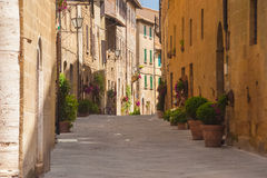 Old beautiful village in Tuscany, Pienza, Italy Stock Images