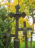 Old wooden cross on hill, Lithuania Stock Photos