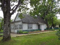 Old beautiful wooden home , Lithuania stock photography