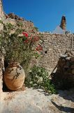 Old beautiful yard at Monemvasia town, Greece Royalty Free Stock Photos