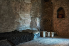 Old bed in castle Royalty Free Stock Image