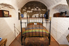 Old bedroom in a cave home Stock Photo