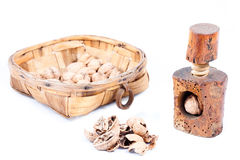 Old beech wood nutcracker with and nutshell with walnut in woode Stock Images