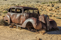 Old car wreck used in diamond theft Royalty Free Stock Photo