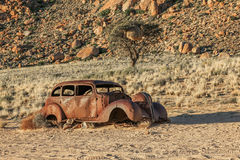 Old Beetle used to rob a diamond mine and destroyed by bullets Stock Image