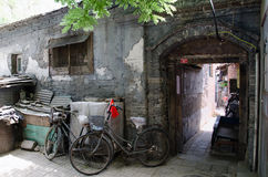 Old Beijing Hutong. Decrepit Hutong courtyard in the centre of Bejing, China Royalty Free Stock Photo