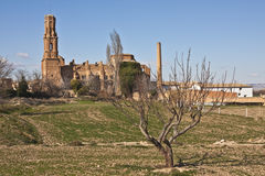 Old Belchite. Belchite is a town in the province of Zaragoza (Spain), located 49 km from the capital. It has a population of 1,692 inhabitants and 273.58 km ² Royalty Free Stock Images