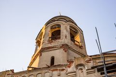 The Old Believer Cathedral of the Protection of the Holy Virgin in Borovsk, Russia. Built in 1912. View of the bell tower of the temple stock photo
