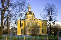 The old believer community Rogozhsky. The Cathedral of the intercession of the blessed virgin Mary classicism the Golden dome Stock Photos