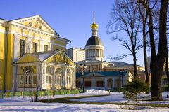 The old believer community Rogozhsky. The Cathedral of the intercession of the blessed virgin Mary classicism the Golden dome the Church of the Nativity Stock Photography