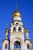 The old believer community Rogozhsky. The Church bell tower Church of the assumption the Golden dome stucco moulding Stock Photo