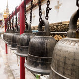 Old Bell sort lined in temple Royalty Free Stock Photography