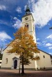 Old bell tower of the church Maria Verkuendigung. Spittal an der Drau, Austria. Old bell tower of the church Maria Verkuendigung in the town of Spittal an der Stock Image
