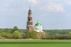 Old bell tower and Church in the village of Perevles, Ryazan, Russia.  royalty free stock photography