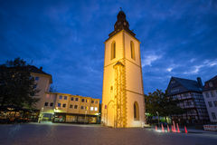 Old bell tower giessen germany in the evening. An old bell tower giessen germany in the evening royalty free stock photos