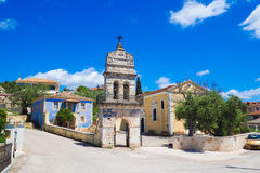 Old bell tower in traditional greek village on the island of Zak Stock Photo