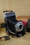 Old bellows camera with film Royalty Free Stock Photos
