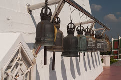 Old bells on the Golden mountain temple in Bangkok Stock Photos