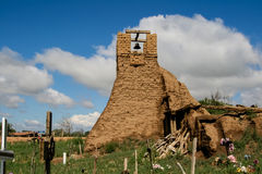 Old belltower from San Geronimo Chapel in Taos Pueblo Royalty Free Stock Photo