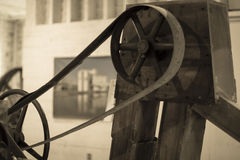 An old belt-driven machine in Thompson`s Mill, Shedd, Oregon. royalty free stock image