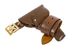 Old belt and holster. On white background Stock Photo