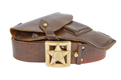Old belt and holster. On white background Stock Photography