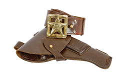 Old belt and holster. On white background Royalty Free Stock Photo