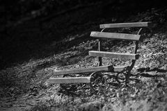 Old bench. Old wood bench in park, black and white stock images
