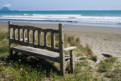 Old bench on the beach Royalty Free Stock Photo