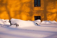Old bench covered with snow in Zagreb, Croatia Royalty Free Stock Photo