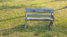 Old bench. Old empty recycle wooden bench  in the park Stock Photos