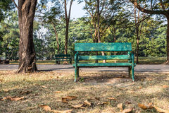Old bench. Old empty recycle wooden bench  in the park Royalty Free Stock Image