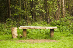 Old bench found in the woods Stock Images