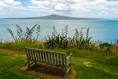 An Old Bench at Look Out Spot on North Head Auckland New Zealand Stock Photography