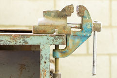 Old bench metal vise. Royalty Free Stock Images
