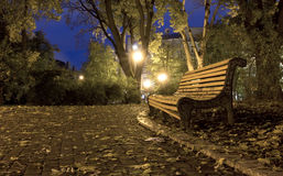 Old bench in night park Royalty Free Stock Images