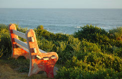 Old bench overlooking sea Royalty Free Stock Photo