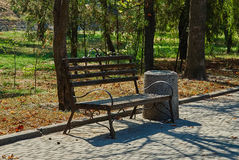 Old bench in a park Stock Image