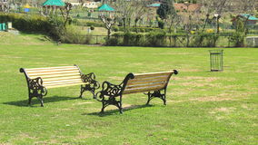 Old Bench in a Park. Old Bench in the Manasbal Park at kashmir, srinagar, india Stock Photo