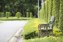 Old bench in the park. In thailand Stock Photography