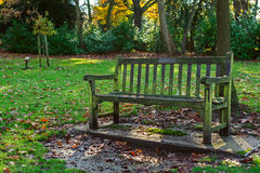 Old bench in a park Stock Photos