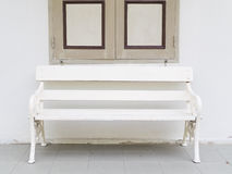 Old bench and window. Retro style royalty free stock photos