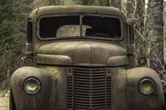 Old Betsy. Picture looking at the front of an old truck stock images
