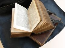 Old bible. Bible Books on leer bag royalty free stock images