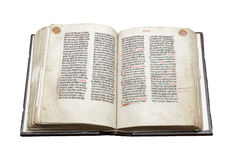 Old bible book. Isolated on white background Royalty Free Stock Images