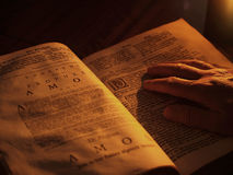 Old bible by candlelight. Open bible reading by candlelight chapter Amos Stock Photos
