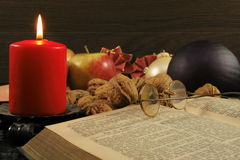 Old bible and christmas decoration Royalty Free Stock Photo
