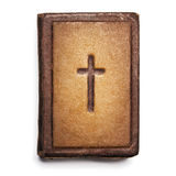 Old Bible Cover, Vintage Leather Front Book Texture with Cross, royalty free stock images