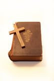 Old bible and cross Royalty Free Stock Photos
