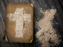 Old Bible and Cross of ash - Ash Wednesday. Royalty Free Stock Images